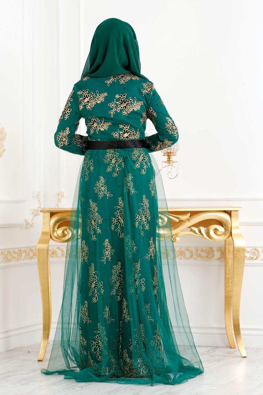 Tesettürlü Abiye Elbise - Kemerli Tül Detaylı Yeşil Tesettür Abiye Elbise 6370Y