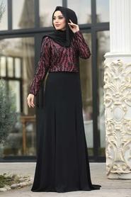 Tesettürlü Abiye Elbise - Kırmızı Etek / Bluz Tesettür Abiye Takım 37220K - Thumbnail