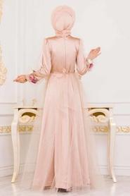 Tesettürlü Abiye Elbise - Kolları Çiçek Detaylı Gold Tesettür Abiye Elbise 3946GOLD - Thumbnail