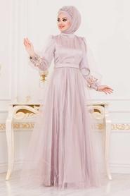 Tesettürlü Abiye Elbise - Kolları Çiçek Detaylı Vizon Tesettür Abiye Elbise 3946V - Thumbnail