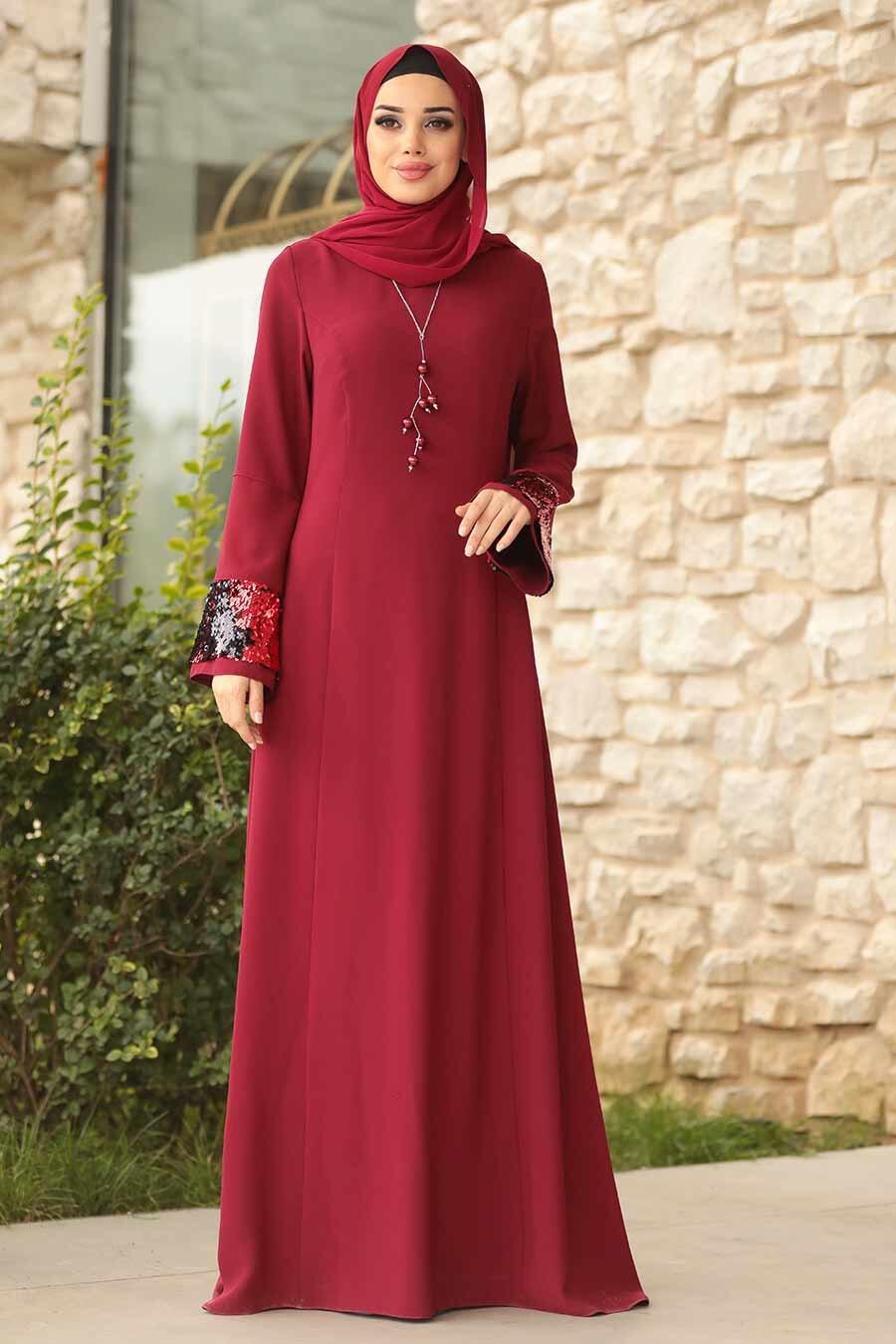 Tesettürlü Abiye Elbise - Kolları Detaylı Bordo Tesettür Abiye Elbise 38960BR