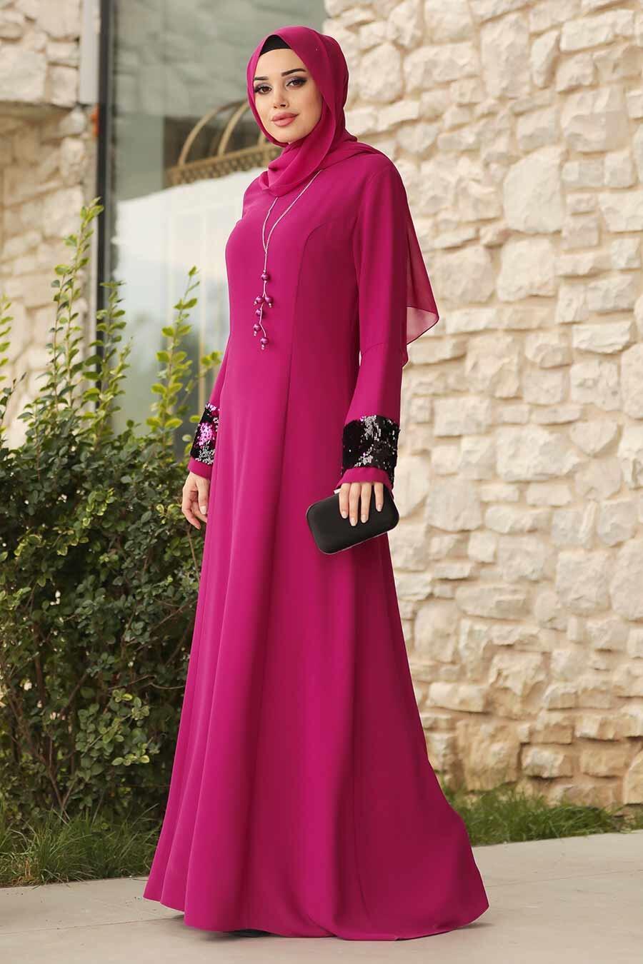 Tesettürlü Abiye Elbise - Kolları Detaylı Fuşya Tesettür Abiye Elbise 38960F