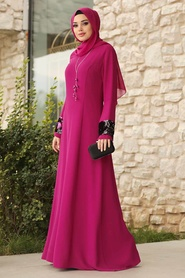 Tesettürlü Abiye Elbise - Kolları Detaylı Fuşya Tesettür Abiye Elbise 38960F - Thumbnail