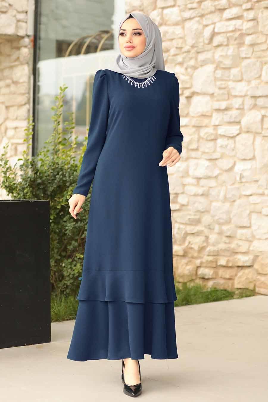 Tesettürlü Abiye Elbise - Kolyeli Lacivert Tesettür Abiye Elbise 3763L