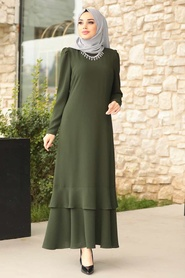 Tesettürlü Abiye Elbise - Kolyeli Yeşil Tesettür Abiye Elbise 3763Y - Thumbnail