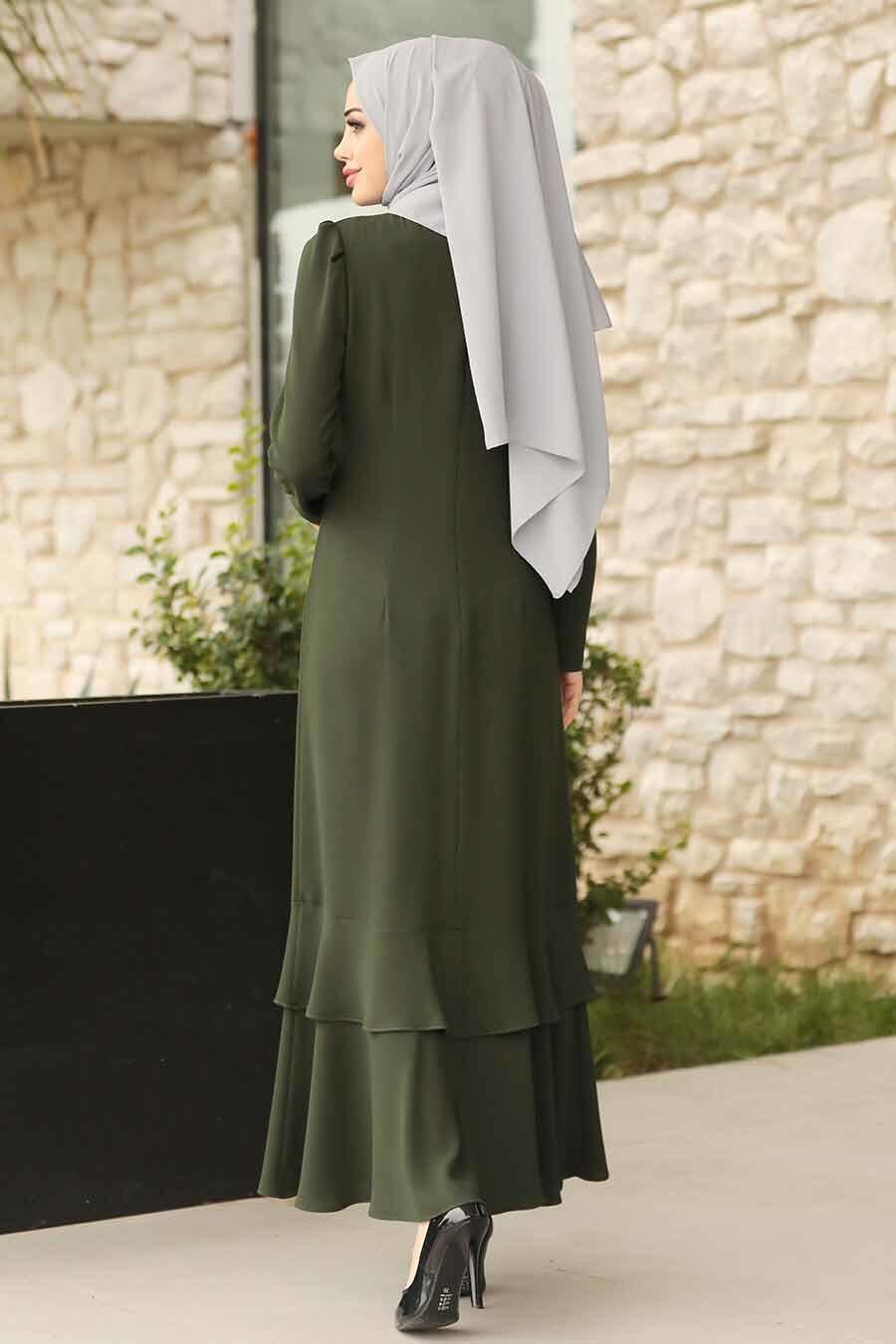 Tesettürlü Abiye Elbise - Kolyeli Yeşil Tesettür Abiye Elbise 3763Y