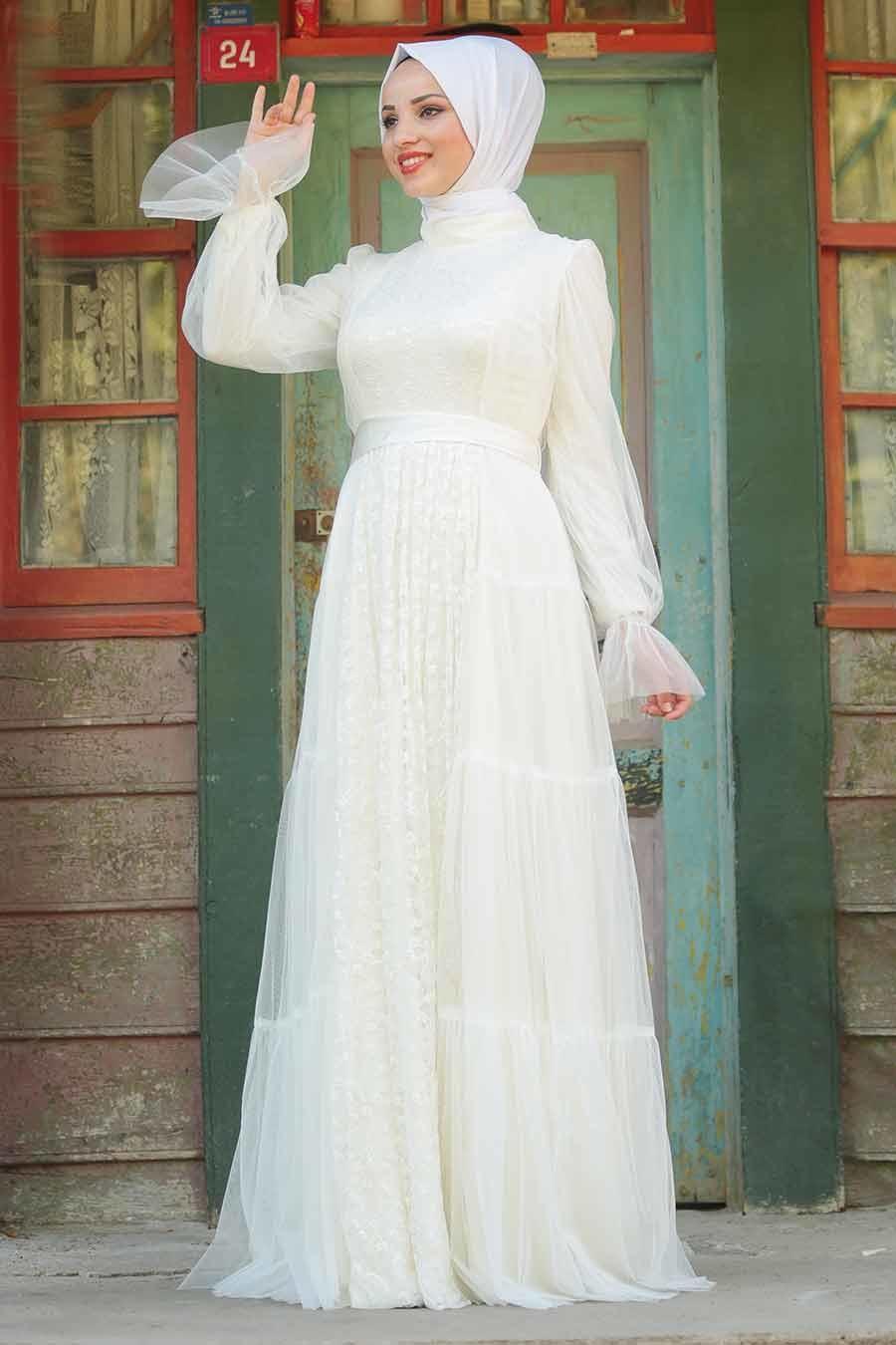 Tesettürlü Abiye Elbise - Kuşaklı Ekru Tesettür Abiye Elbise 3963E