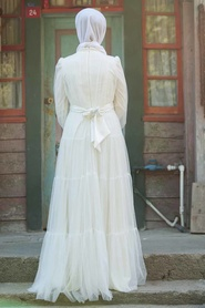 Tesettürlü Abiye Elbise - Kuşaklı Ekru Tesettür Abiye Elbise 3963E - Thumbnail