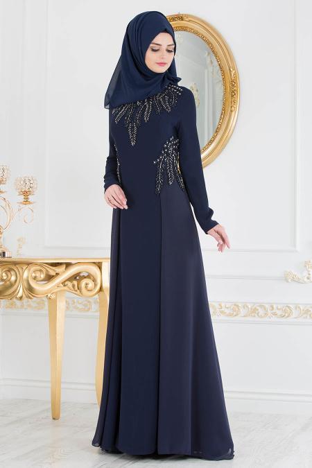 Tesettürlü Abiye Elbise - Lacivert Tesettür Abiye Elbise 20331L