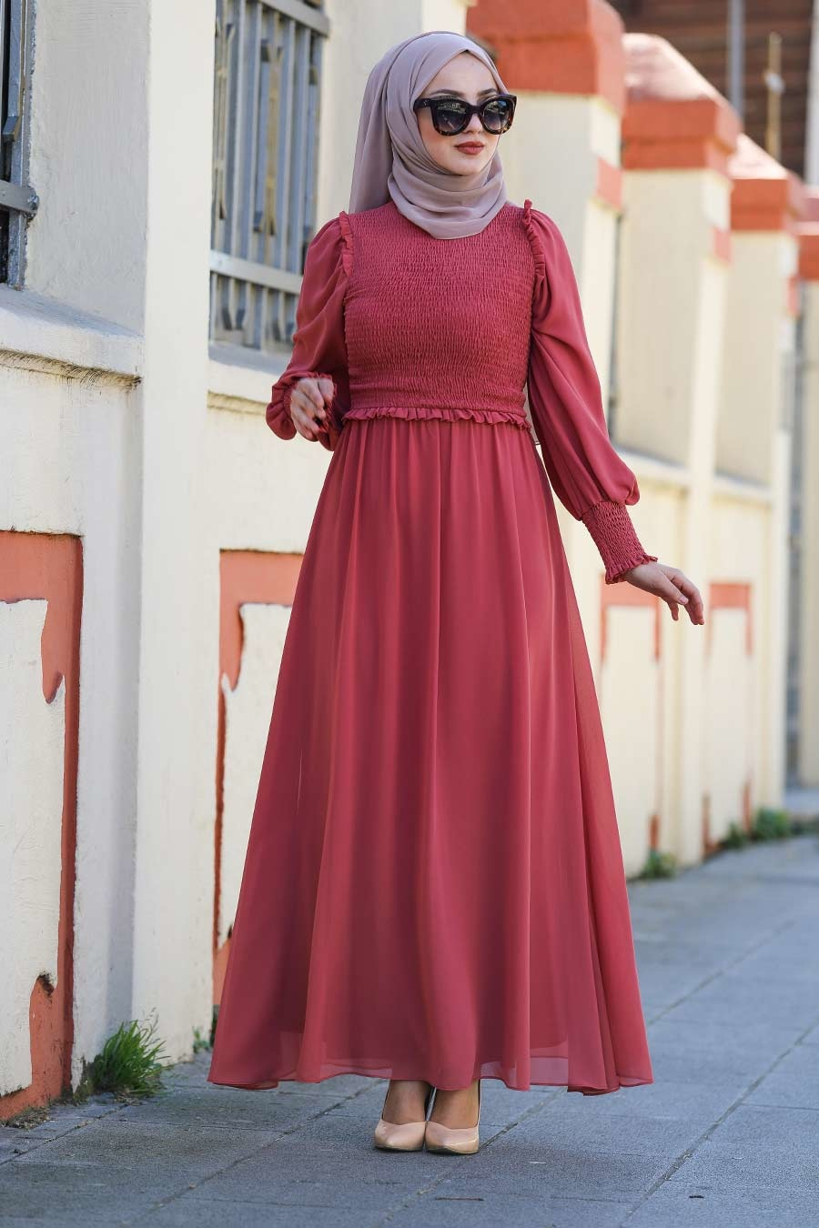 Tesettürlü Abiye Elbise - Mercan Tesettür Abiye Elbise 22174MR