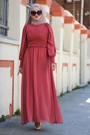 Tesettürlü Abiye Elbise - Mercan Tesettür Abiye Elbise 22174MR - Thumbnail