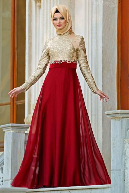 Tesettürlü Abiye Elbise - Nervür Detaylı Bordo Elbise 2228BR