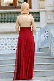Tesettürlü Abiye Elbise - Nervür Detaylı Bordo Elbise 2228BR - Thumbnail