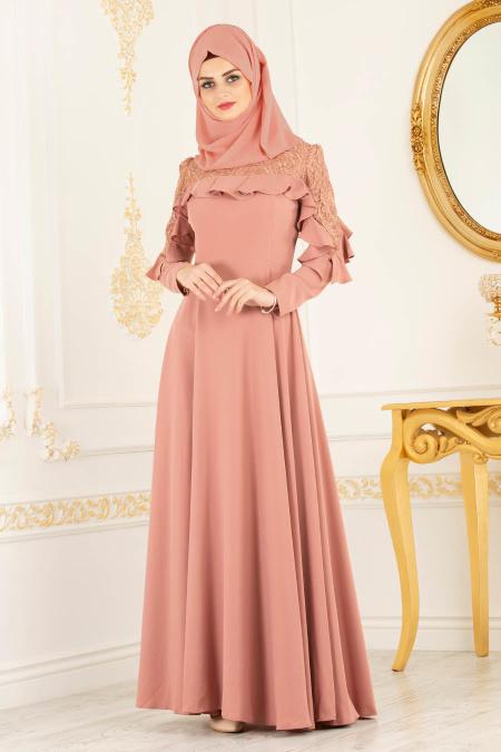 Tesettürlü Abiye Elbise - Omuzları Dantel Detaylı Somon Tesettür Abiye Elbise 3746SMN