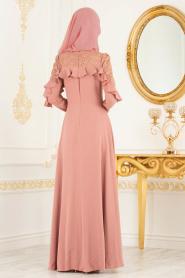 Tesettürlü Abiye Elbise - Omuzları Dantel Detaylı Somon Tesettür Abiye Elbise 3746SMN - Thumbnail