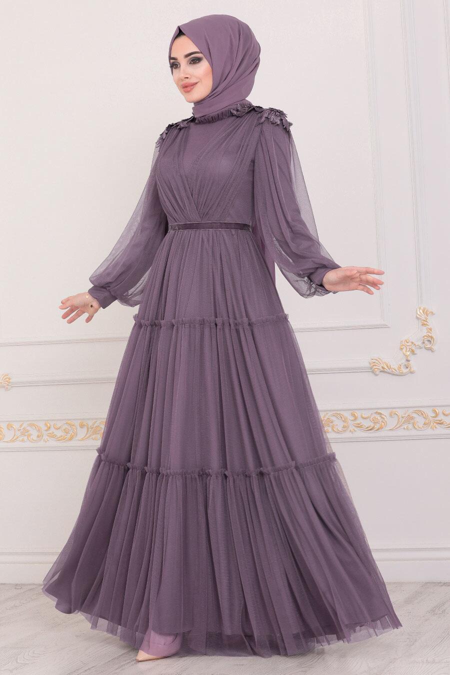 Tesettürlü Abiye Elbise - Omuzları Detaylı Koyu Lila Tesettür Abiye Elbise 4072KLILA
