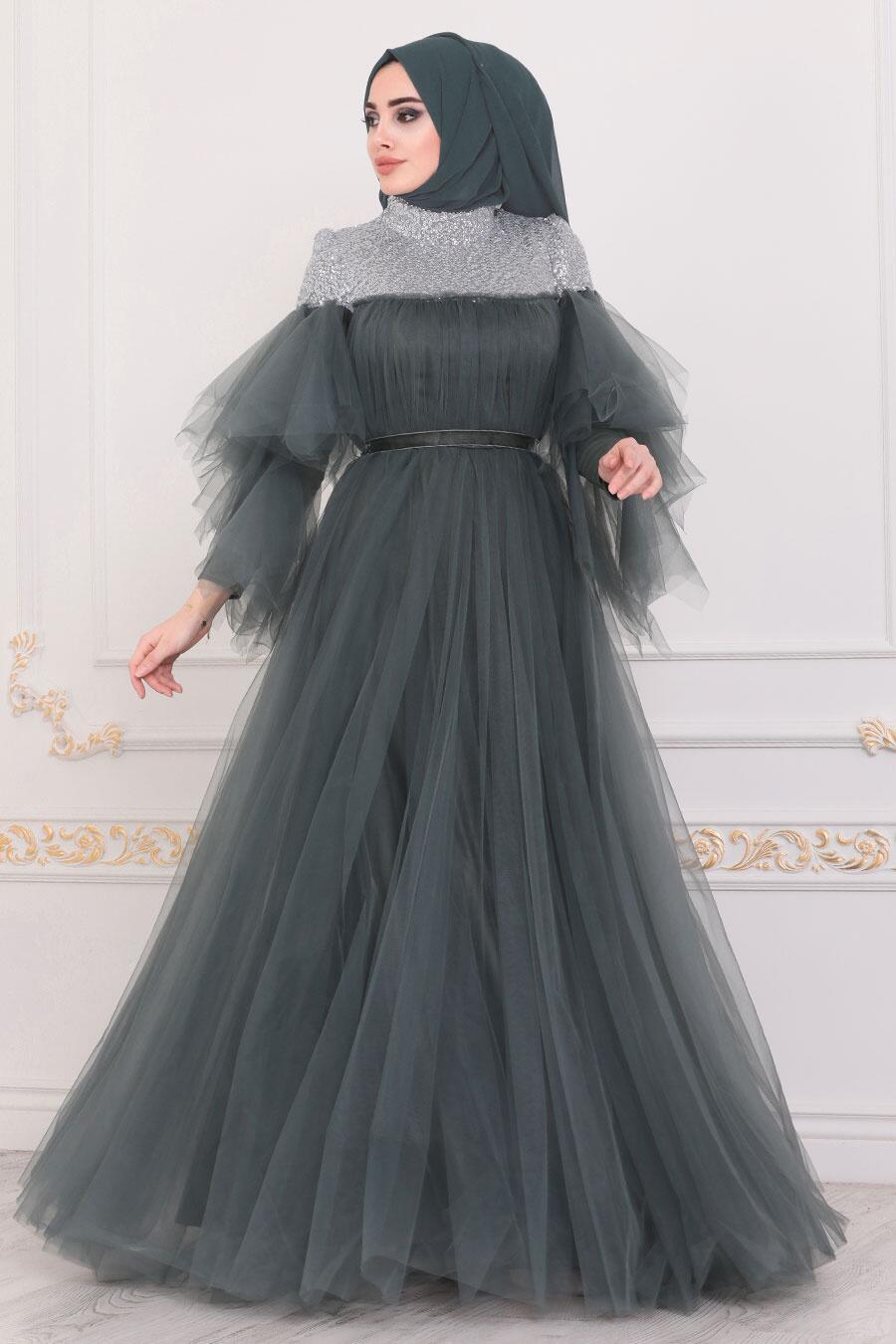 Tesettürlü Abiye Elbise - Omuzları Detaylı Petrol Yeşili Tesettür Abiye Elbise 40772PY