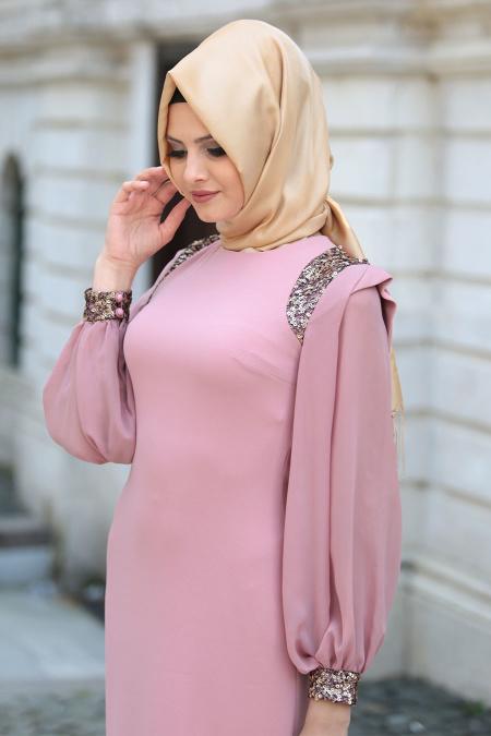 Tesettürlü Abiye Elbise - Omuzları Payet Detaylı Gül Kurusu Tesettür Abiye Elbise 3544GK