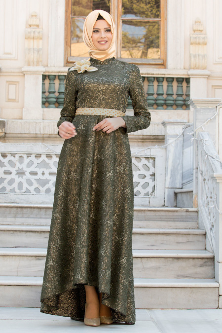 Tesettürlü Abiye Elbise - Omuzu Çiçek Detaylı Haki Tesettür Abiye Elbise 7361HK