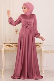 Tesettürlü Abiye Elbise - Krep Saten Gül Kurusu Tesettür Abiye Elbise 14251GK - Thumbnail