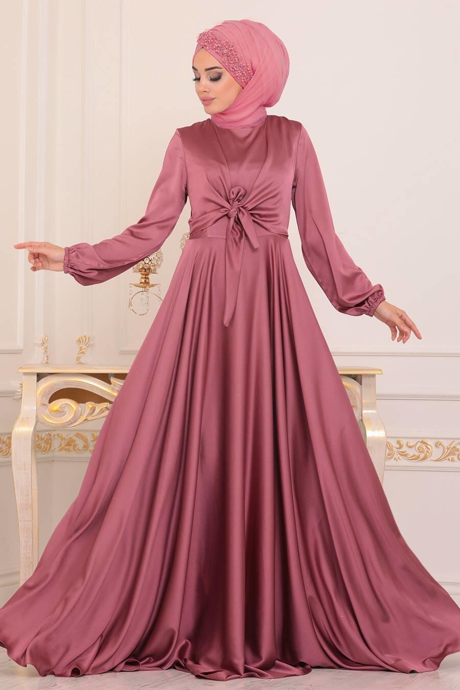Tesettürlü Abiye Elbise - Krep Saten Gül Kurusu Tesettür Abiye Elbise 14251GK