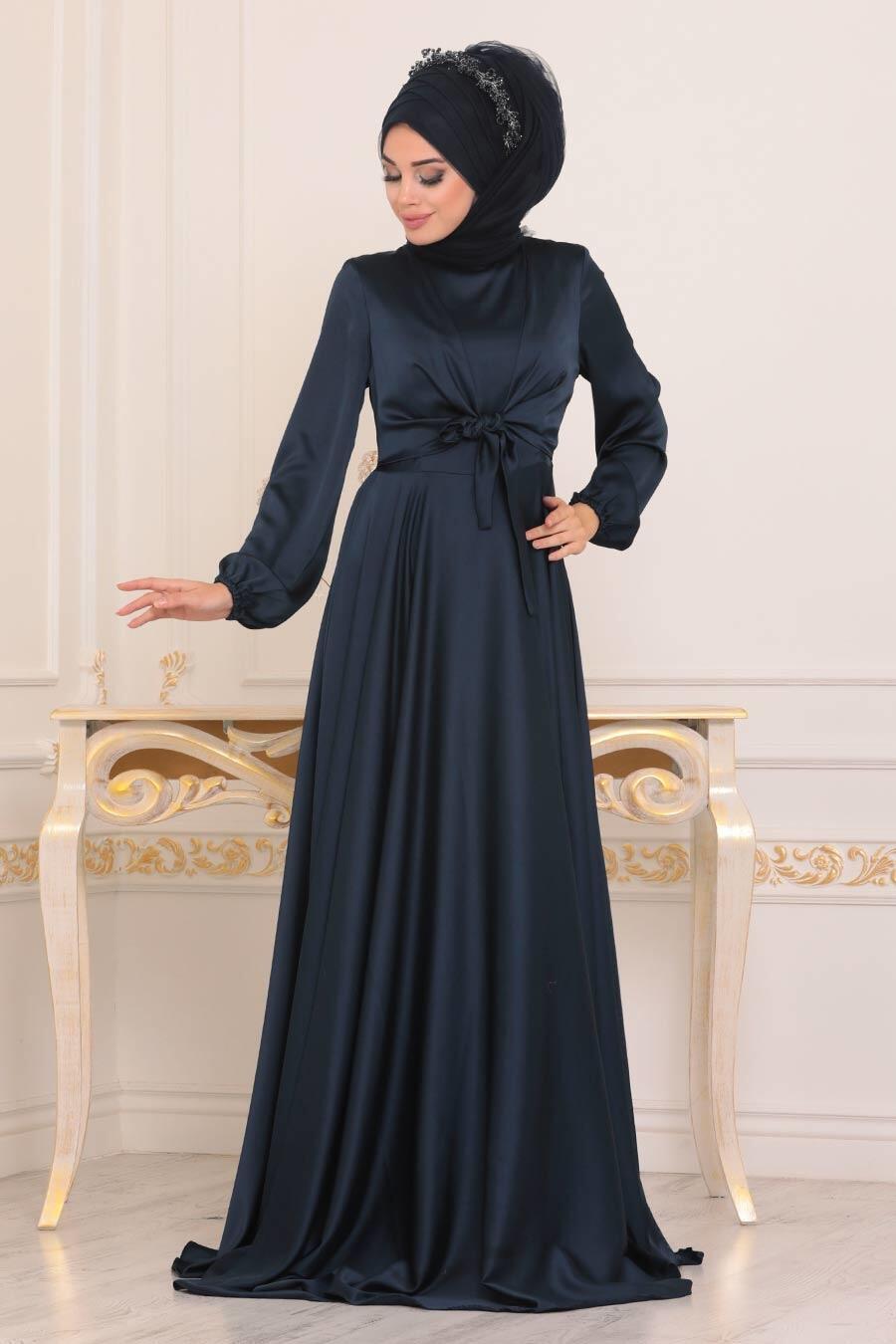 Tesettürlü Abiye Elbise - Krep Saten Lacivert Tesettür Abiye Elbise 14251L