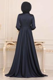 Tesettürlü Abiye Elbise - Krep Saten Lacivert Tesettür Abiye Elbise 14251L - Thumbnail