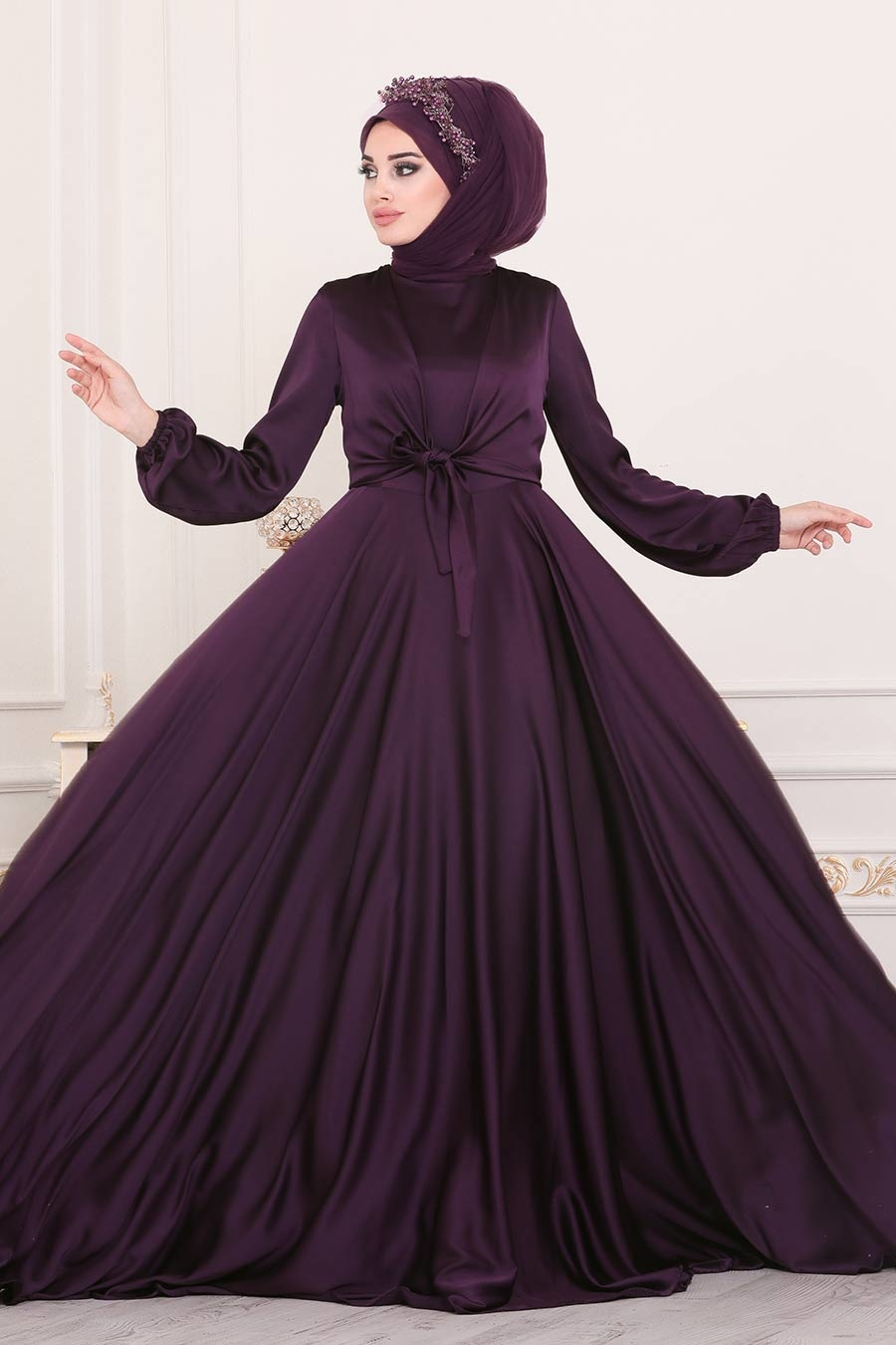 Tesettürlü Abiye Elbise - Krep Saten Mürdüm Tesettür Abiye Elbise 14251MU