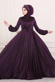 Tesettürlü Abiye Elbise - Krep Saten Mürdüm Tesettür Abiye Elbise 14251MU - Thumbnail