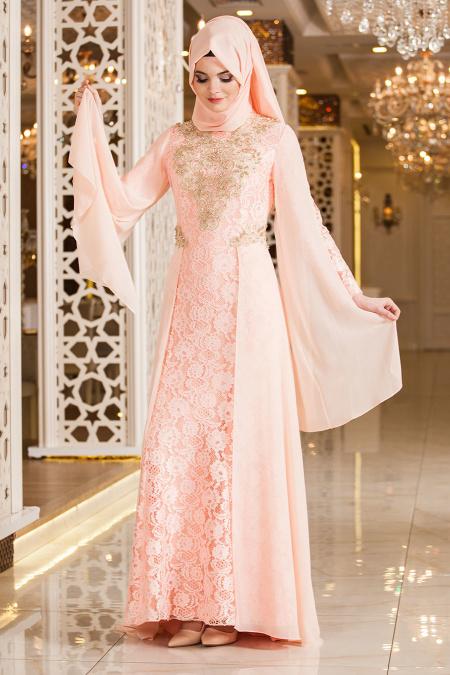 Tesettürlü Abiye Elbise - Önü Taşlı Somon Dantel Tesettür Abiye Elbise 2254SMN