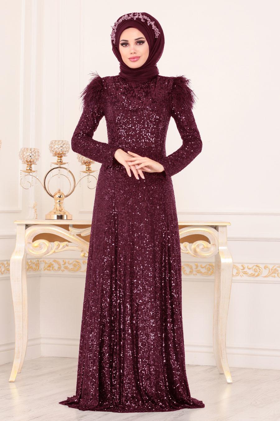 Tesettürlü Abiye Elbise - Otriş Payetli Bordo Tesettürlü Abiye Elbise 21111BR