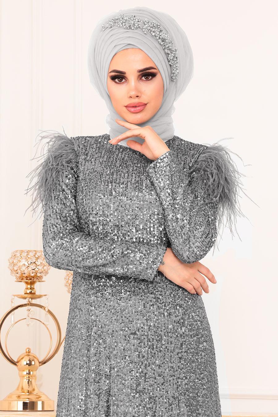 Tesettürlü Abiye Elbise - Otriş Payetli Gri Tesettürlü Abiye Elbise 21111GR