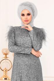 Tesettürlü Abiye Elbise - Otriş Payetli Gri Tesettürlü Abiye Elbise 21111GR - Thumbnail