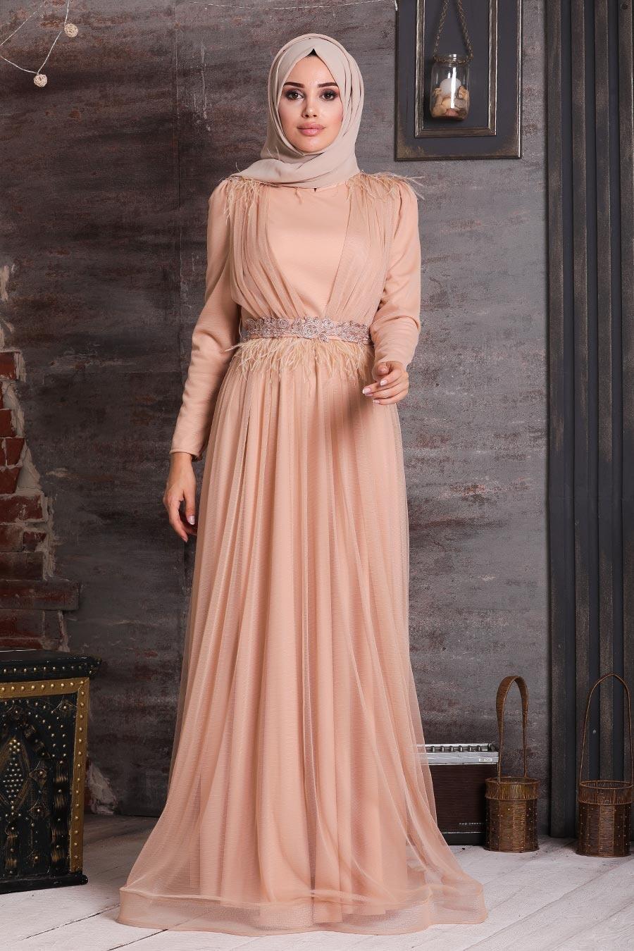 Tesettürlü Abiye Elbise - Otriş Tüy Detaylı Gold Tesettür Abiye Elbise 21360GOLD