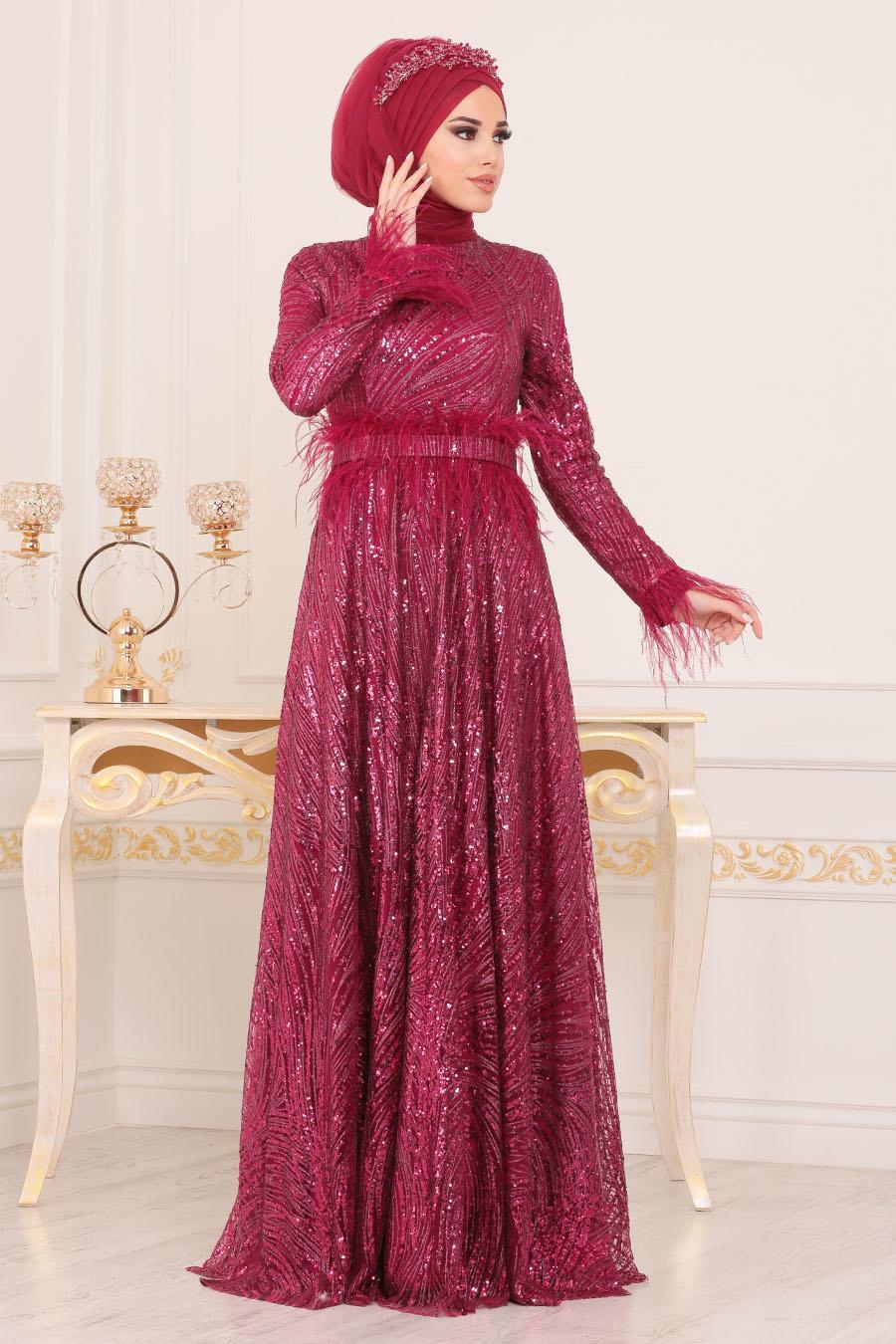 Tesettürlü Abiye Elbise - Otrişli Pul Payetli Vişne Tesettürlü Abiye Elbise 21090VSN