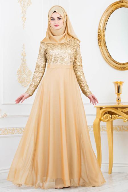 Tesettürlü Abiye Elbise - Payet Detaylı Gold Tesettürlü Abiye Elbise 81620GOLD