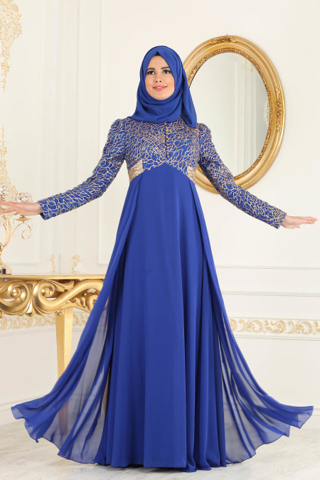 Tesettürlü Abiye Elbise - Payet Detaylı Sax Mavisi Tesettür Abiye Elbise 7506SX