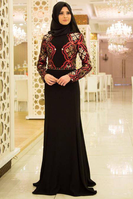 Tesettürlü Abiye Elbise - Payet Detaylı Siyah Tesettür Balık Elbise 3887S