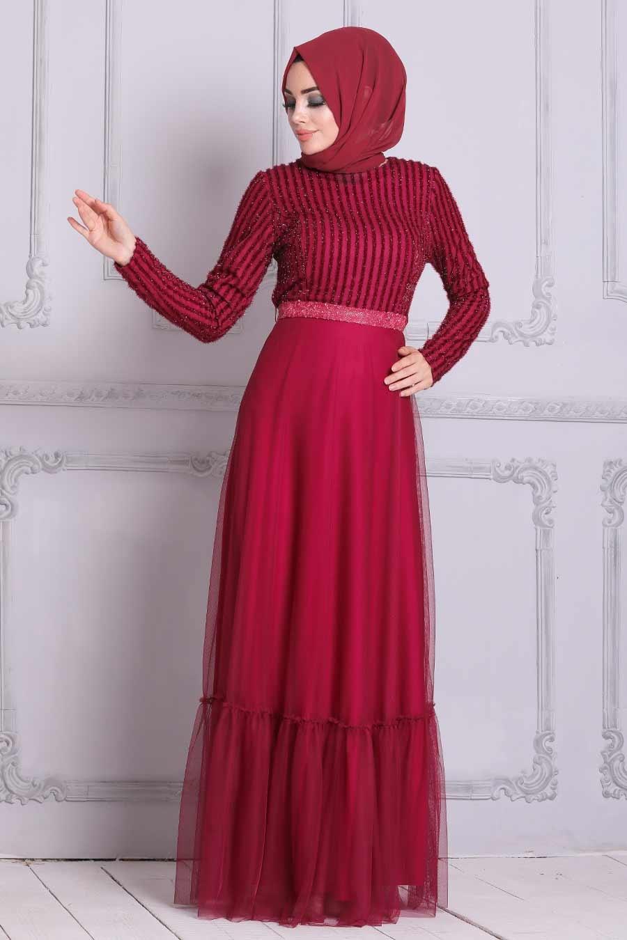 Tesettürlü Abiye Elbise - Payet Detaylı Vişne Tesettür Abiye Elbise 5317VSN