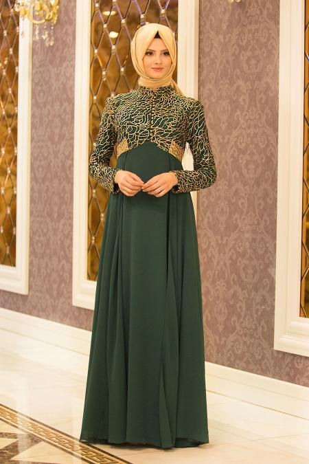 Tesettürlü Abiye Elbise - Payet Detaylı Yeşil Tesettür Abiye Elbise 7506Y