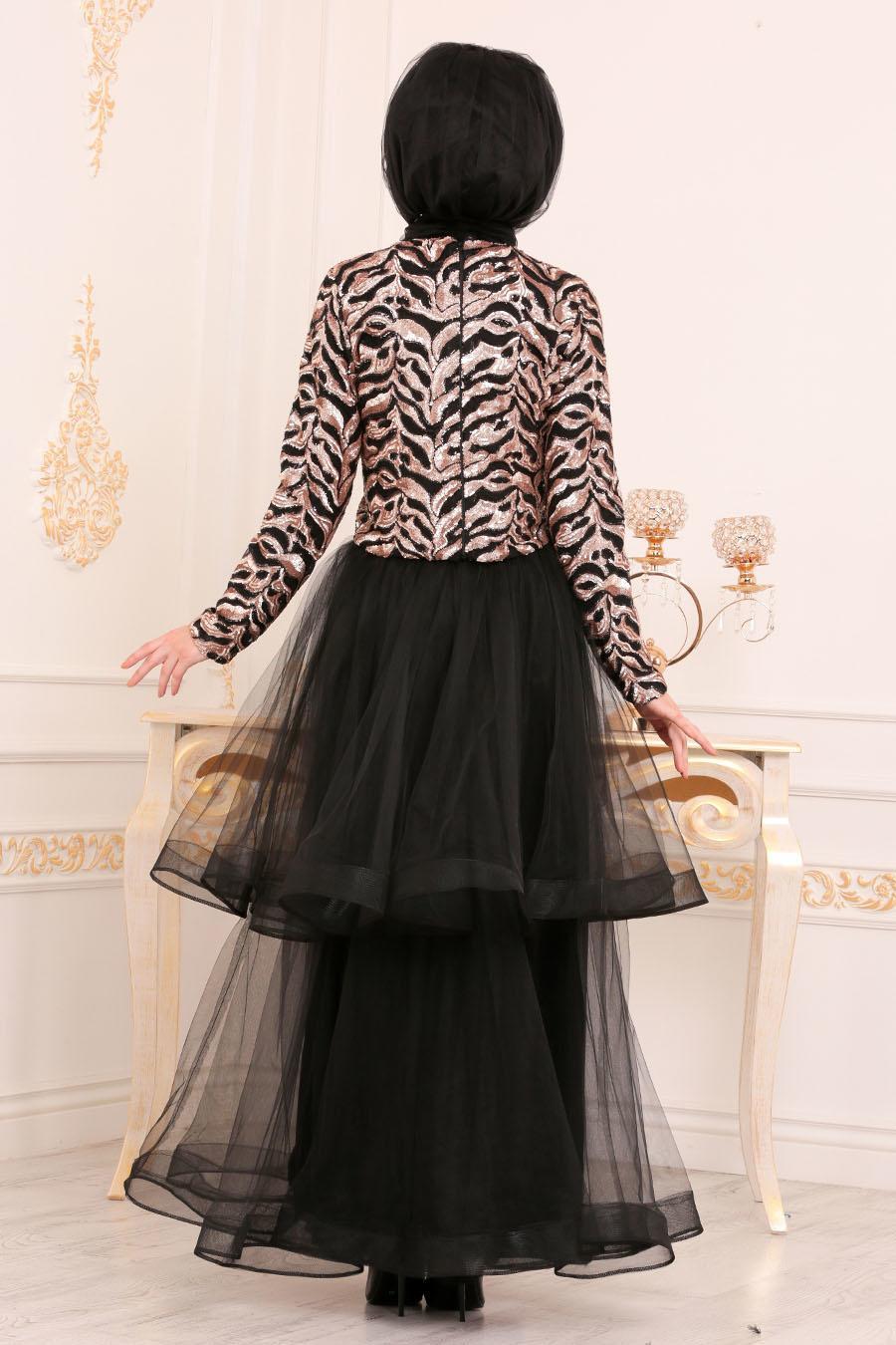 Tesettürlü Abiye Elbise - Payetli Bluz / Etek Bej Tesettür Abiye Takım 37110BEJ