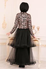 Tesettürlü Abiye Elbise - Payetli Bluz / Etek Bej Tesettür Abiye Takım 37110BEJ - Thumbnail