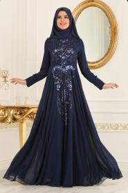 Tesettürlü Abiye Elbise - Payetli Lacivert Tesettür Abiye Elbise 7533L - Thumbnail
