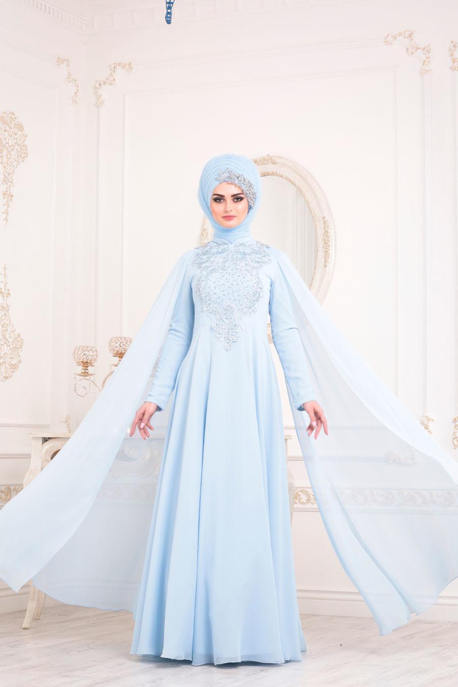 Tesettürlü Abiye Elbise - Pelerinli Bebek Mavisi Tesettür Abiye Elbise 20710BM