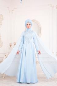 Tesettürlü Abiye Elbise - Pelerinli Bebek Mavisi Tesettür Abiye Elbise 20710BM - Thumbnail