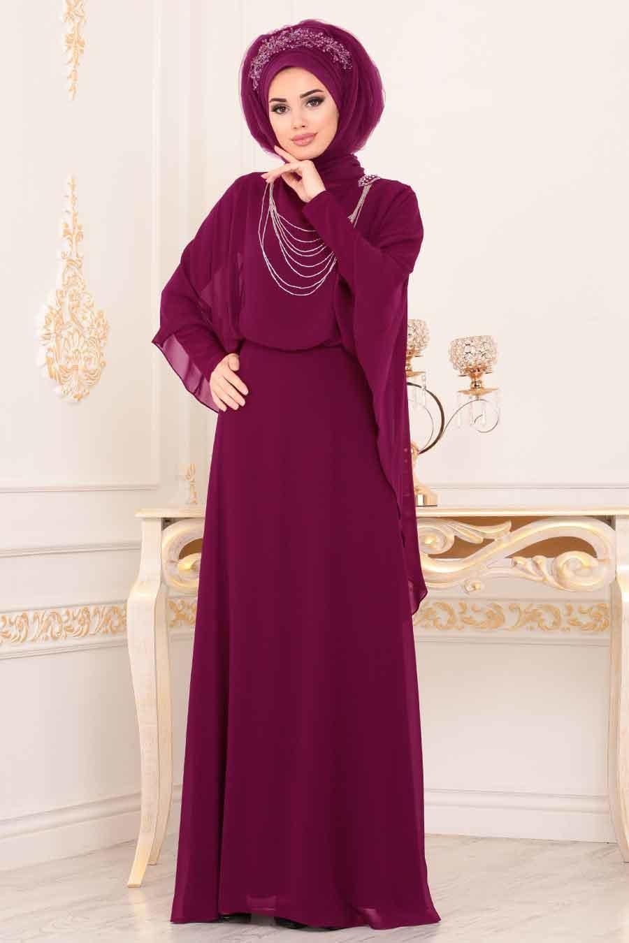 Tesettürlü Abiye Elbise - Pelerinli Fuşya Tesettür Abiye Elbise 3829F