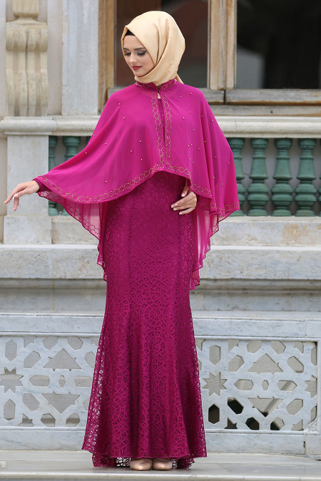 Tesettürlü Abiye Elbise - Pelerinli Fuşya Tesettür Abiye Elbise 7658F