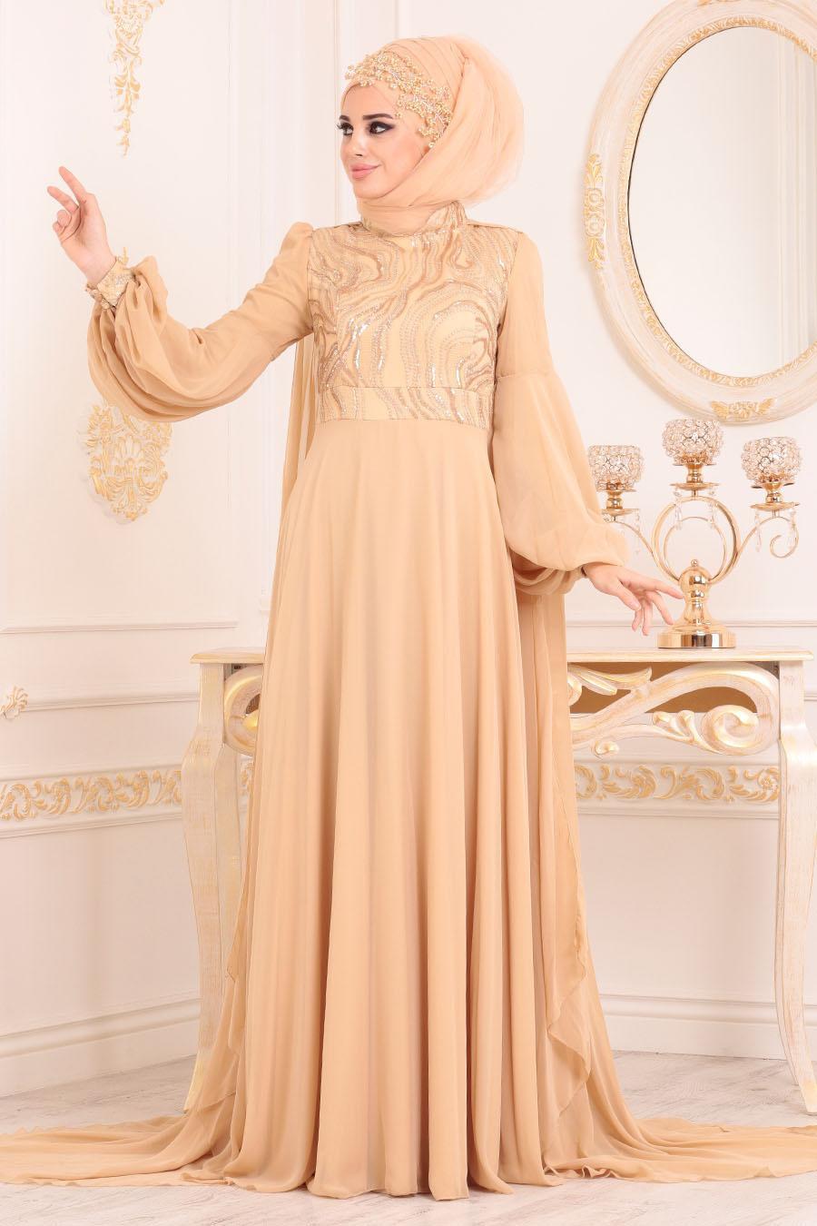 Tesettürlü Abiye Elbise - Pelerinli Gold Tesettür Abiye Elbise - 3726GOLD