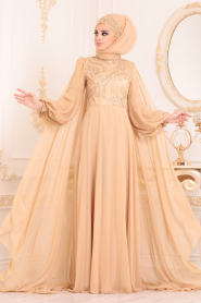 Tesettürlü Abiye Elbise - Pelerinli Gold Tesettür Abiye Elbise - 3726GOLD - Thumbnail