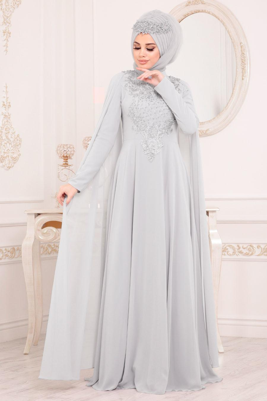 Tesettürlü Abiye Elbise - Pelerinli Gri Tesettür Abiye Elbise 20710GR